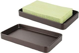 mDesign Modern Decorative Metal Guest Hand Towel Storage Tray Dispenser, Sturdy Holder for Disposable Paper Napkins - Bathroom Vanity Countertop Organization - 2 Pack - Bronze