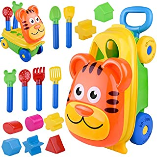 LIFE TRACE Beach Sand Toys Luggage Tiger Troller Car Beach Toy Sets Beach Sand Toys Truck with 14 pcs Figure molds Outdoor Play Education Toys 18 Months+