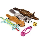 Dog Squeaky Toys Giocattoli per cani in peluche Masticare senza farcire Giocattoli per cuccioli Giocattoli in corda resistente