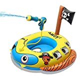 TROJOY 3-in-1 Pool Floats for KidsToddler, Pool Toys with Water Gun, Pirate Ship Toys for Boys Girls 3 4 5 6 7, Kids Inflatable Boat Toys Gifts for Summer Swimming Pool Party Birthday