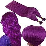 Runature U Tip Extension Cheveux 100% Naturel 14 Pouces Couleur Violet 20g 25 Strand Cheveux Extension Keratin Extension