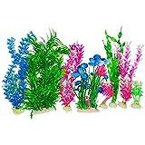 Otterly Pets Plastic Plants for Fish Tank Decorations Large Artificial Aquarium Decor and ...