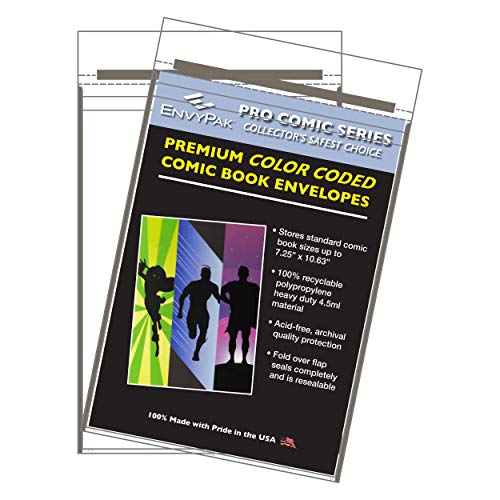 EnvyPak Premium Color Coded Comic Book Sleeves Ultra Thick 4.5mil Resealable Fold Over Flap (Pack of 30) (Gray)