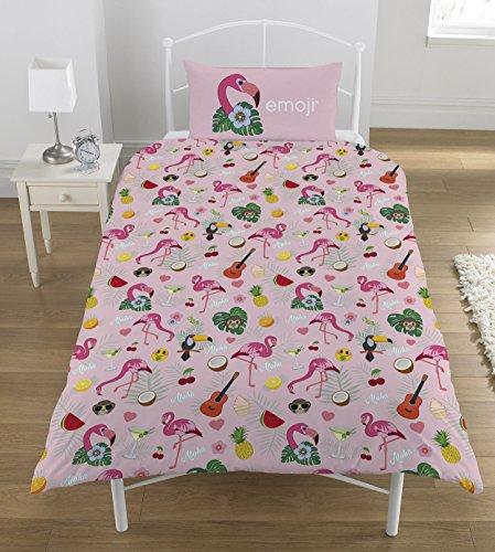 Emoji Flamingo Bettwäsche-Set, Mehrfarbig, 135 x 0.5 x 200 cm