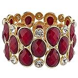 Lux Accessories Gold Tone Red Burgundy Crystal Teardrop Shimmer Stretch Bracelet