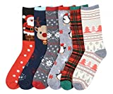I&S 6 Pairs Crew Socks, Printed Fun Colorful Festive, Crew Sock Women Colorful Fancy Design Soft (Christmas #2)