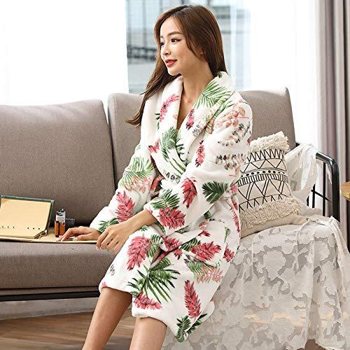 nohbi Toalla Albornoces Super Suave,Pijama de Pareja de Franela Gruesa, además de túnica cálida Polar-R_XL,Bata Algodón de Kimono Ropa con Cinturón