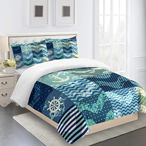 MQBHJI Duvet Covers Double Bed - 3D Printed Blue Ocean Theme Pattern 3 Pcs With Zipper Closure 200X200cm With 2 Pillow Covers, Ultra Soft Microfiber Bedding Set Double Bed