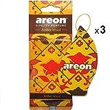 Areon Orient Ambientador Coche Madera Ambar Casa Colgante Colgar Olor Oriental Perfume Original Cartón Retrovisor Oficina 2D ( Amber Wood Pack de 3 )