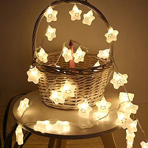 LINGTH Decoración navideña, lámpara de hada, dibujos animados, cara sonriente, estrella de 5 puntas, lámpara LED impermeable, funciona con pilas, decoración de jardín