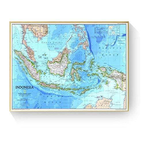 kldfig Indonesië kaart grote posters en prints muurkunst decoratieve afbeelding canvas schilderij voor woonkamer huis decoratie - 60x90cm niet ingelijst