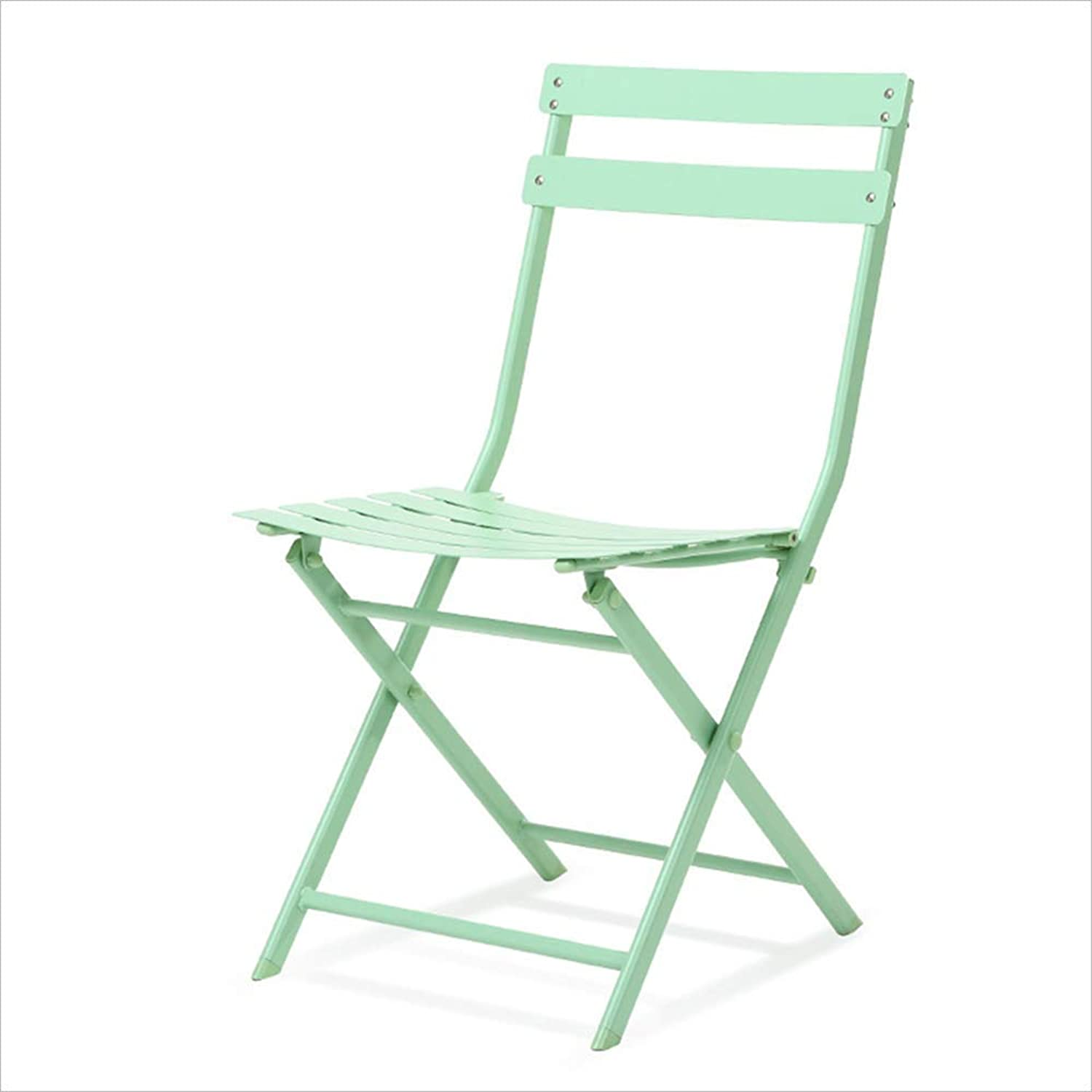 DQMSB Stylish and Simple Wrought Iron Folding Dining Chair European Balcony Leisure Chair Chair (color   Green)
