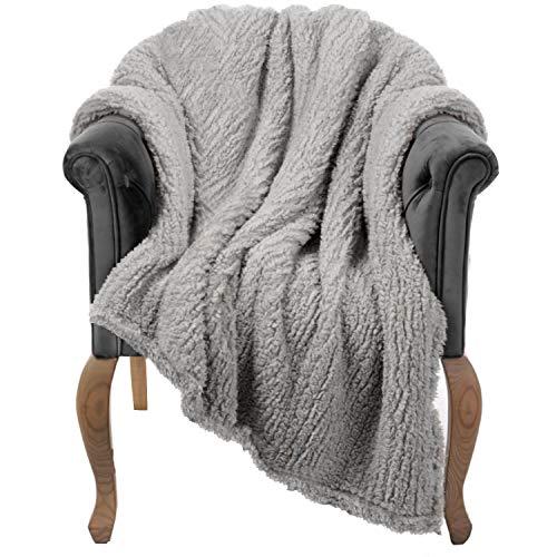 Manta para sofá – 40 x 50 cm, gris – peluda, mullida, felpa, suave, acogedora, cálida funda de forro polar – perfecta para cama, sofá