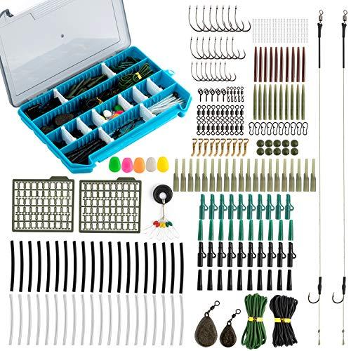 Alwonder 299 piezas de aparejos de pesca de carpa kit de aparejos de pelo helicóptero para hacer juego completo con aparejos preatados verde, negro y marrón
