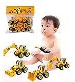 Sunshine smile Baustellenfahrzeuge,4 Stück Lernspielzeug Fahrzeuge Lastwagen,Engineering Bagger Set,Baufahrzeuge Lernspielzeug für Kinder,Zerlegen Spielzeug DIY,LKW Bagger Spielzeug.…