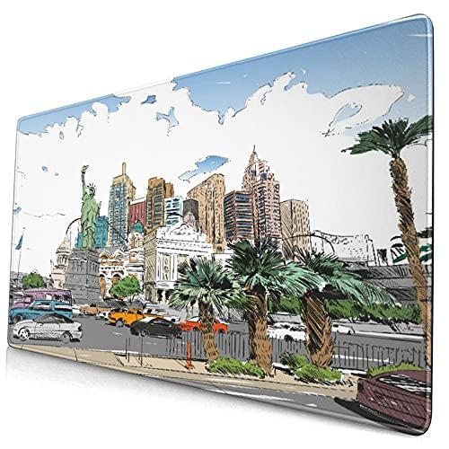 Alfombrilla de ratón para juegos grandes,Dibujado a mano de la ciudad de Las Vegas. Ne,Protector de almohadilla de escritorio antideslizante,Tapete de escritorio para...