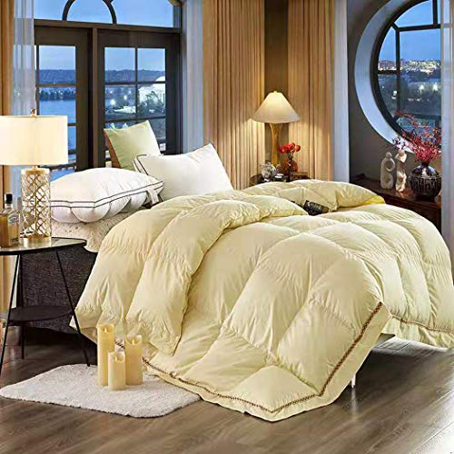 LanPerro All Season Duvet, 95% White Goose Down Quilt, Fill Power 850, 100% Cotton Down Comforter, Lightweight And Medium Warmth, Solid Color,Yellow,150 * 210cm 2.5KG