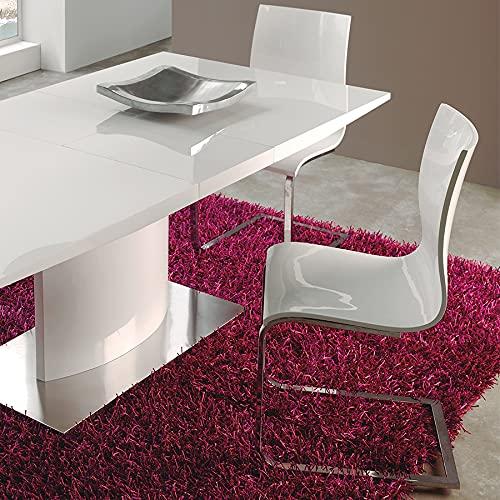 Theodore - Mesa de cerámica extensible efecto mármol blanco