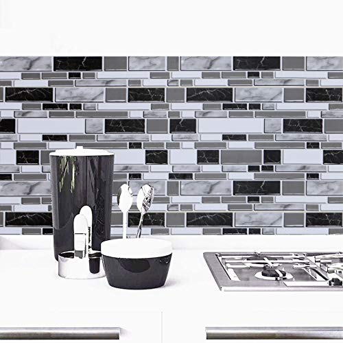Black and White Peel and Stick Wallpaper for Kitchen,11.8inch x 78.7inch Kitchen Wallpaper Bathroom Self Adhesive Wall Paper Waterproof Countertop Removable Wallpaper Backsplash Vinyl Film Decoration