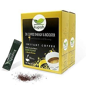 Cafe soluble natural extra fuerte | Kupah Energy Booster | 24 sobres x 3 g | 72g | Aumenta la Energía | Guarana y Ginseng | Tostado artesanal