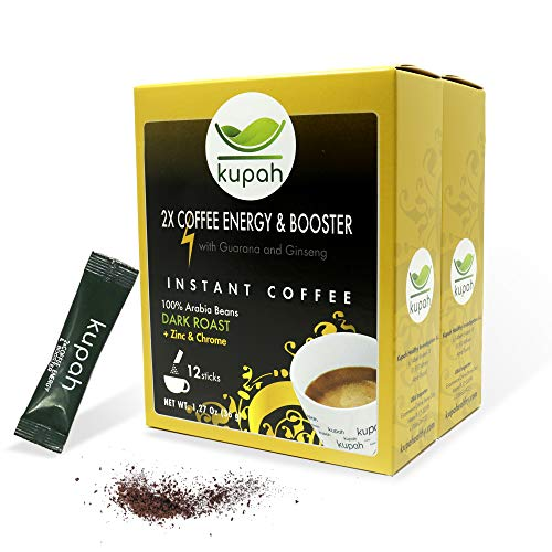 High Caffeine Coffee | Kupah 2 x Coffee Energy & Booster Instant Coffee Singles | 24ct w/ Guarana Ginseng in single serve stick | Keto & Paleo Friendly | 2 Packs