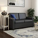DHP Logan Twin Sleeper Sofa Couch Pull Out Bed, Black Faux Leather
