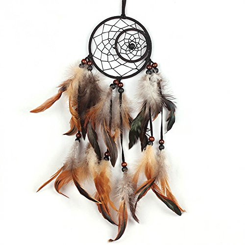 BUYITNOW Sun Moon Dreamcatcher Nets with Feather Wooden Beads Home Car Hanging Decoration
