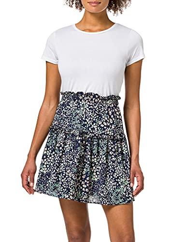 Vero Moda VMHANNAH Foil HW Short Skirt WVN GA Falda de Tejido Corto, Navy Blazer/AOP:Hannah, XL para Mujer