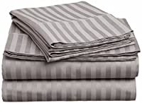 Grand Linen Hotel Quality Bed Sheet Set Today Soft. 1500 Stripe Premium Series. High Thread Count Deep Pocket (King, Navy)