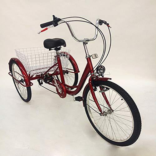 Kaibrite Dreirad Für Erwachsene mit Einkaufskorb 24Zoll,3 Räder Dreirad Lastenfahrrad 6 Gänge Trike Fahrrad mit Lampe Zahnräder Pedal Dreirad für Sport Einkaufen