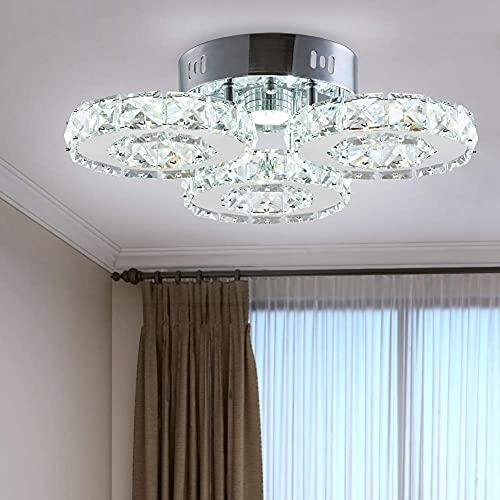 Lámpara de araña de cristal moderna, 3 anillos LED, gran lustre de cristal contemporáneo, de acero inoxidable, para comedor, sala de estar (blanco frío)