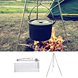 GOUPPER Campfire Tripod Camping Cooking Dutch Oven Tripod Adjustable Foldable Hanging Pot Campfire Grill Stand and...