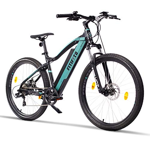 Fitifito MT27,5 Plus-48V Zoll Elektrofahrrad Mountainbike E-Bike Pedelec, 48V 13Ah 624Wh Samsung Cells Lithium-Ionen USB, 48V 250W Heckmotor, 21 Gang Shimano Schaltung