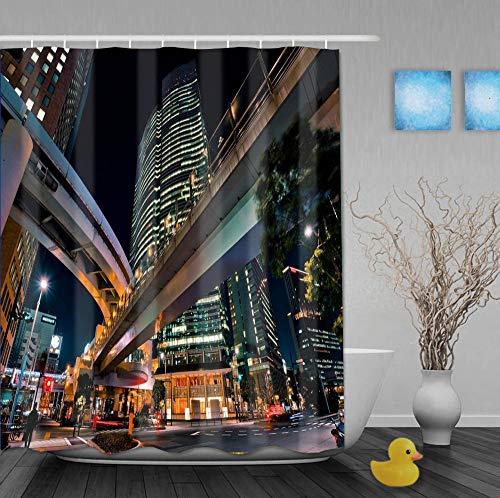 Mmxhn Duschvorhang Polyester 180X180Cmerhöhtes Gebäudebad Vorhang Father's Day GIF-1