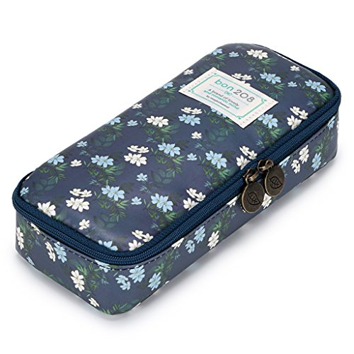 BTSKY Cute Pencil Case - High Capacity Floral Pencil Pouch Stationery Organizer Multifunction Cosmetic Makeup Bag, Perfect Holder for Pencils and Pens Cyan