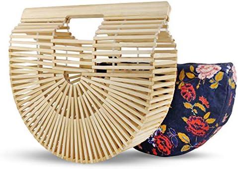 Bagish Bamboo Bag Handmade Semi Circle Boho Basket Straw Clutch Purse Beach Tote for Women WITH product image