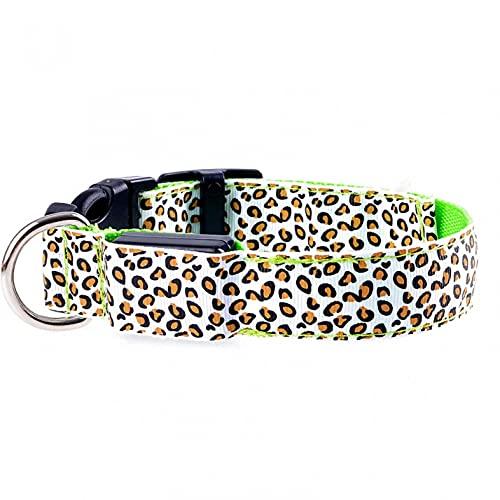 YUECI LED leuchtendes Hundehalsband Leopard leuchtendes Flash Welpenhalsband für Nachtsicherheitsbeleuchtung Verstellbare Halskette für kleine Hunde hundehalsband Leuchtend und drei Beleuchtungsmodi