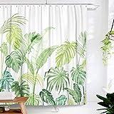 Lifeel Dschungel-Duschvorhang, tropische Duschvorhang, Palme, Banane, Monstera-Blatt, Badezimmer-Duschvorhang-Set, schwer, mit 12 Haken, grün-weiß, 182,9 x 182,9 cm