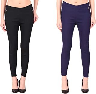 Kavya Retail Solid Polycotton Casual Stretchable Multi-Colored Jegging for Women's/Girl's Pack of 2 (Size-28,30,32,34,36)