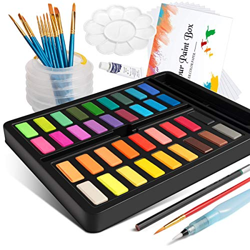 Watercolor Paint Set, Frunsi Portable 36 Assorted Watercolors Travel Kit with Water Brush, Watercolor Paper, Watercolor Pigments Ideal for Kids, Beginners, Artists, Hobbyists
