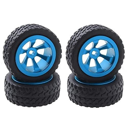 J-Clock Neumático para Scooter, 4 Piezas/Lote Metal + neumáticos y Ruedas Goma para WLtoys 1/28 RC Car K969 K989 K999 P929 4WD Short Course Drift Off Road Rally Reemplazo, Azul