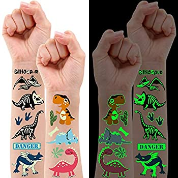 Partywind 20 Sheets  160 PCS  Luminous Dinosaur Temporary Tattoos for Kids Glow Dinosaur Decorations for Birthday Party Supplies Favors for Boys and Girls Dinosaur Tattoos Stickers for Stocking Stuffers
