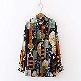 A-HXTM Camisa Verano Primavera Mujer Blusas Camisas Retro Estilo de Inglaterra Tops Camisas de Manga Larga Ropa de Calle Femenina Se Aplica al Trabajo Negocios o Uso Diario etc.-Green_L