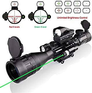 Hunting Rifle Scope Combo C4-16x50 Dual Illuminated with Green Laser sight 4 Holographic Reticle Red/Green Dot for Weaver/Rail Mount