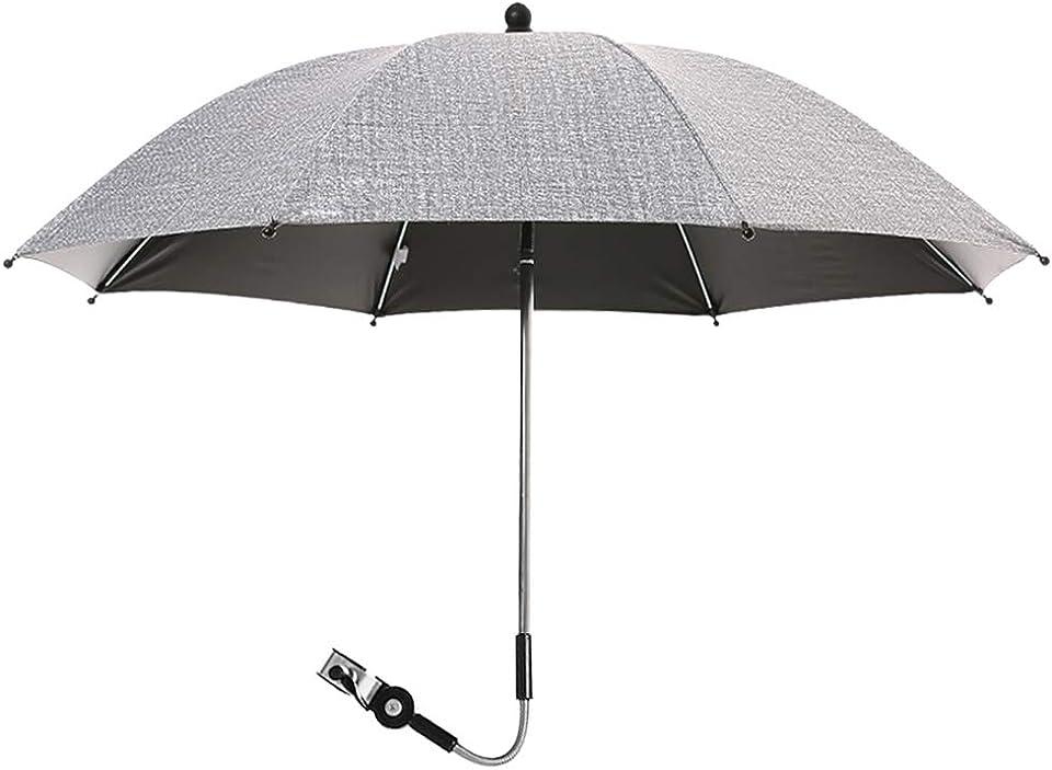 papasgix Kinderwagen Regenschirm Buggy Universal Sonnenschirm für Kinderwagen 50+ UV Sonnenschutz für Babys und Kleinkinder undurchsichtig Regenschirmgriff verstellbar(Grau,75 cm)