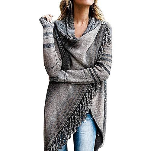 HaiDean Abrigo Poncho para Mujer Elegante Mujer para Chaqueta Modernas Casual con Cuello Alto Suéter De Rebeca Irregular Suéter De Punto Otoño Invierno Suéter De Punto Capa De Punto