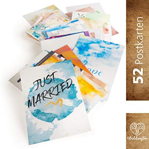 WeddingTree 52 Postkarten Hochzeit - Postkarten Set A6 - für 52 Wochen - kreatives Hochzeitsspiel Gästebuch Gastgeschenk