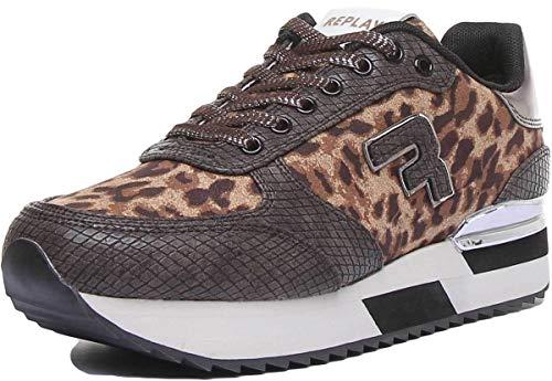 Replay Damen Chatman Sneaker, Braun (Leopard Brown 2715), 39 EU