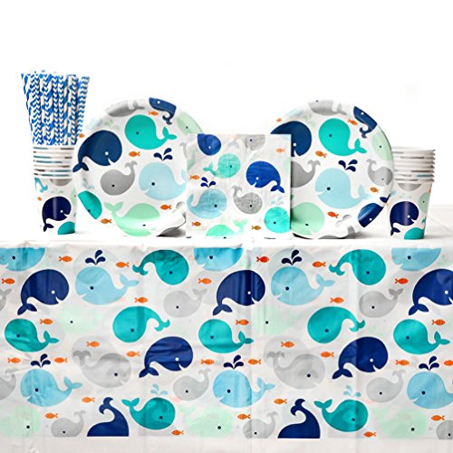 Lil' Spout Blue Baby Shower Party Supplies Pack for 16 Guests | Straws, Dinner Plates, Luncheon Napkins, Cups, and Table Cover | Cute Baby Shower Party Supplies Featuring Whale Baby Shower Plates!