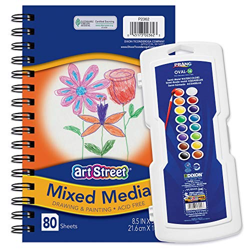 Prang Watercolor Paint Set and Mixed Media Journal, Assorted Colors 2